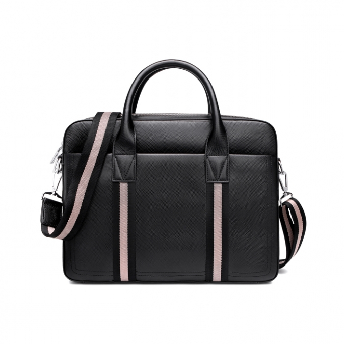Laptop Black Genuine Leather Tote Bags
