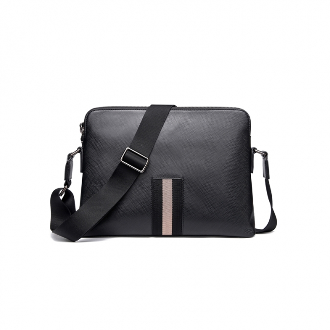 Black Strip Real Leather Crossbody Bags
