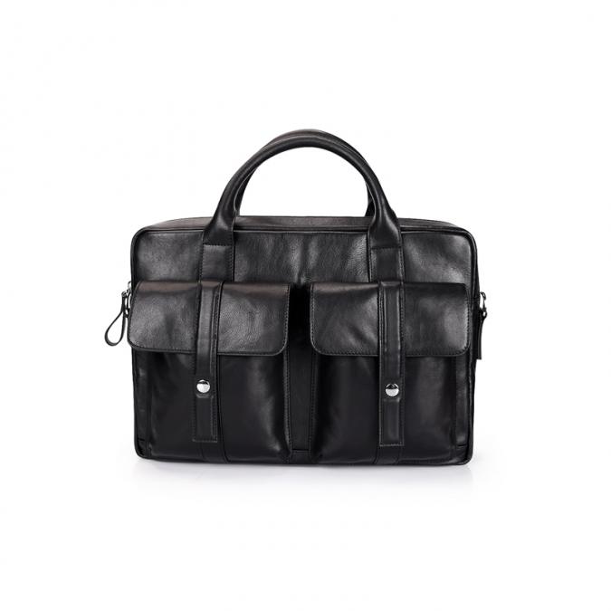 Black Leather Travel Messenger Bags